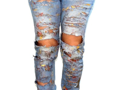 Tutorial:Come fare Jeans strappati e sfilacciati fai da te.how to make ripped jeans and frayed DIY