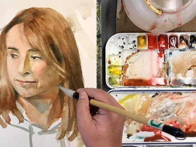 Watercolor portrait painting from live - how to paint a female face