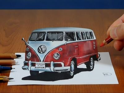 3D Trick Art on Paper, VW classic van, Long Version