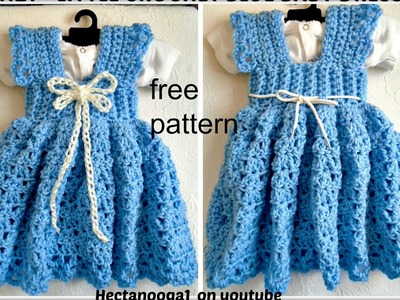 Crochet a Sundress or Jumper, 3 to 6 months, Free pattern #1122yt, crochet baby dress