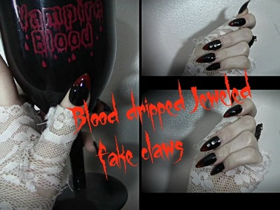DIY: Blood dripped jeweled fake nails