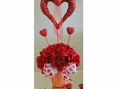 DIY: HEARTS OF LOVE CENTERPIECE.SOME DOLLAR TREE ITEMS
