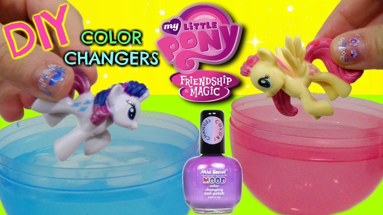 DIY MY LITTLE PONY Color Changing MAKEOVER Mood NAIL POLISH Toys with Fluttershy and Rarity