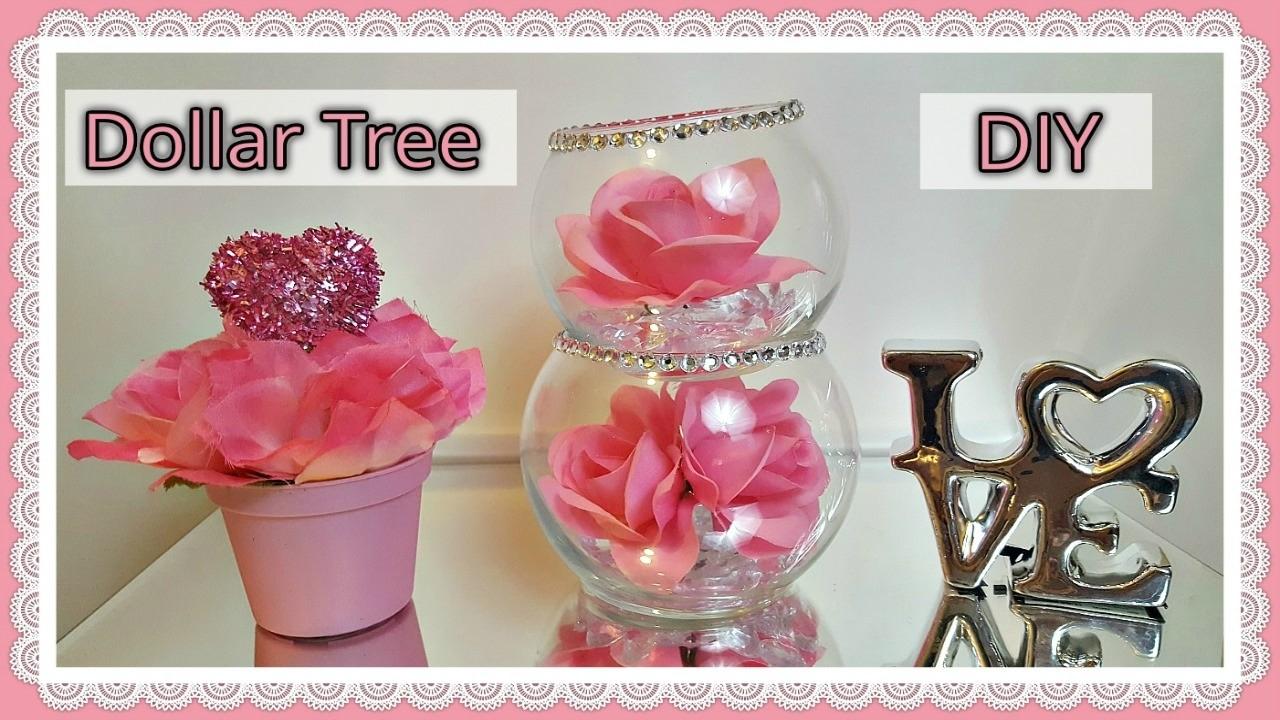 dollar tree diy valentines day 2017 glam floral rose bowls craft. Black Bedroom Furniture Sets. Home Design Ideas