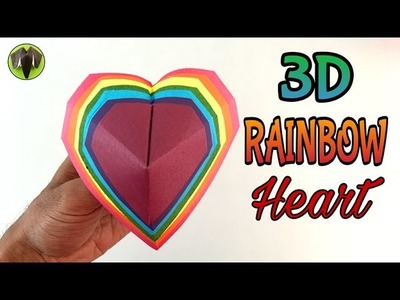 Easy 3D RAINBOW Heart -(Valentine's Day) - Origami Tutorial by Paper Folds #692