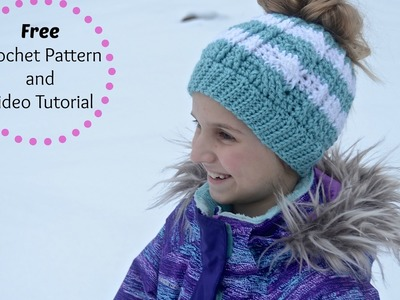 Free Crochet Pattern: Cabled Messy Bun Hat