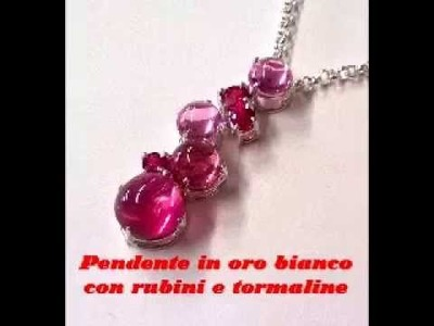 Gold necklace with Rubies and Tourmalines, handmade