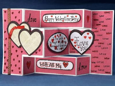 Homemade Valentine Card - DIY Trifold Love Card Step By Step