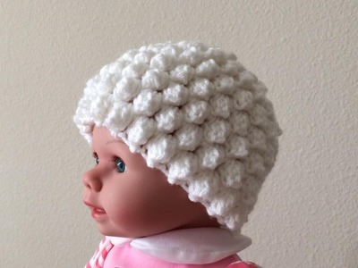 How To Crochet A Popcorn Stitch Hat For A Baby, Lilu's Handmade Corner Video # 125