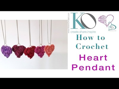 How to Crochet Heart Pendant LEFT HANDED Instructions quick easy jewelry gift valentine's day