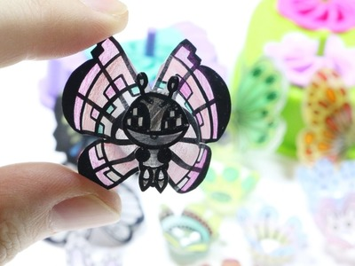 How to DIY Shrinky Dinks 3D Butterfly + Flower Shrink Plastic Tutorial ODDLY SATISFYING