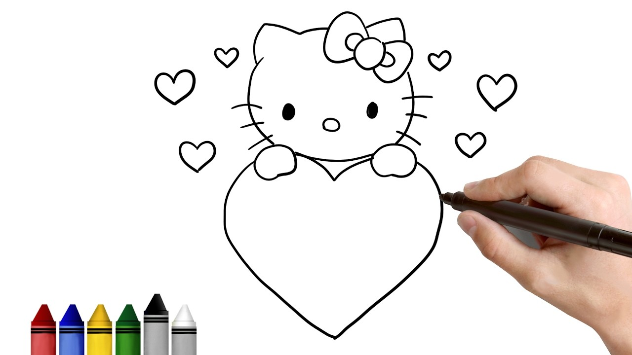 How To Draw Hello Kitty For Valentines Day Drawing For Kids