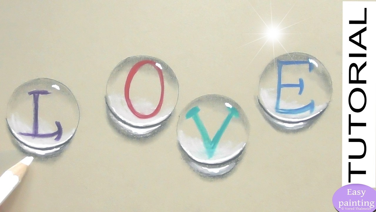 How To Draw Water Drops With Love Letters Valentine S Day 3d Trick
