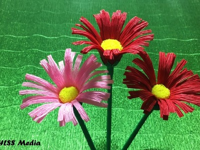 How to fold an Origami daisy crepe paper flower easy. paper craft flower making tutorials