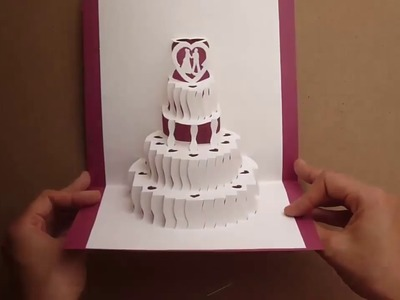 How to make a Amazing Wedding Cake Pop Up Card Tutorial - Free Template