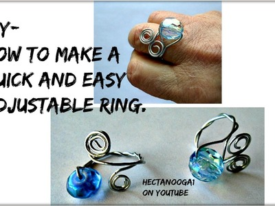 How to make a quick easy adjustable wire ring, jewelry making, beaded ring