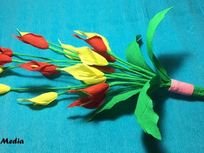 How To Make an origami bouquet of Calla Lily Flower by Crepe Paper easy. paper Craft Tutorial