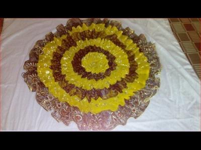 How to make beautiful doormat or puja aasan using old sari and cloths