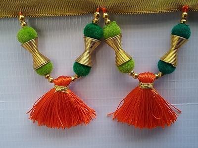 How to make bridal saree kuchu l saree kuchu with beads&velvet balls l kuchu l saree kuchu design#10