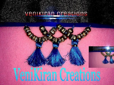 How to make Saree Kuchu.Tassels Design using Silk Thread with Beads - Design 6