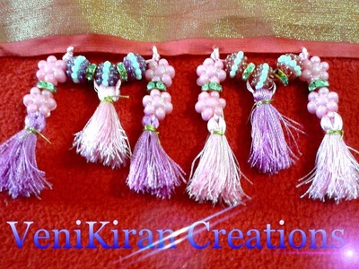 How to make Saree Kuchu.Tassels Design using Silk Thread with Beads - Design 7