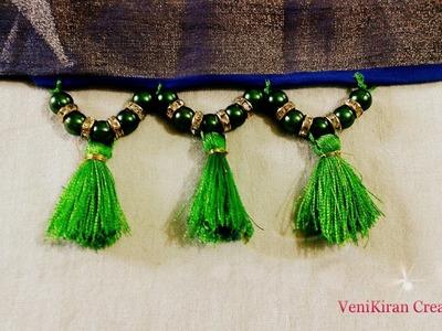 How to Make Saree Tassel.Kuchu design with Beads