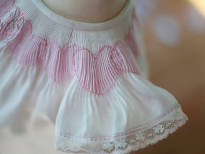 How to outline a smocked heart using the stem and outline stitches