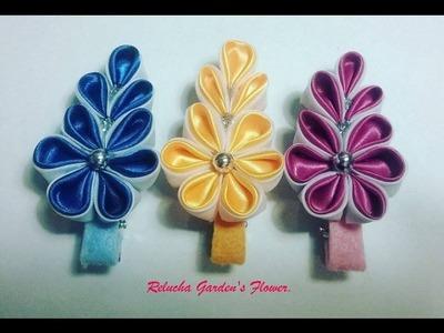 Kanzashi #106 - Como fazer Flor de Tecido Cetim ! - DIY . PAP Satin Flower. 簪