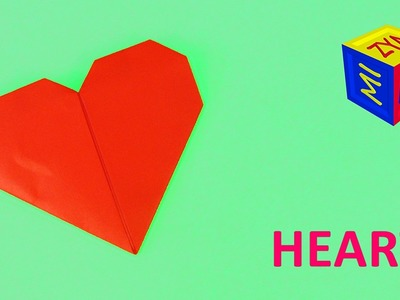 Origami heart. How to make a paper heart - video tutorial with folding isntructions - easy for kids
