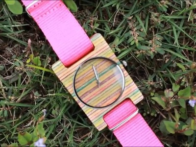 TAKE handmade   ice cream stick color wood watch