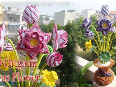 3D ORIGAMI LOTUS FLOWER | PAPER LOTUS FLOWER HANDMADE DECORATION