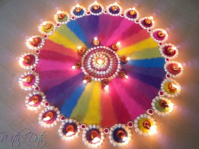Beautiful Rainbow Rangoli Designs With Colours - Multi Colour Rangoli for Competitions By Maya!