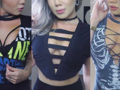 DIY: 3 Ideias para customizar camisetas (Lace up) - Julyanne Nascimento