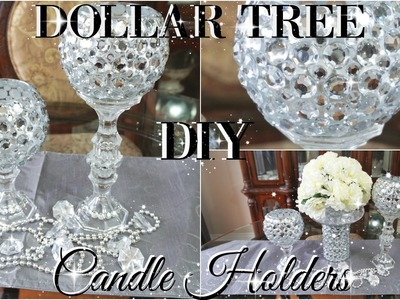 DIY DOLLAR TREE BLING CANDLE HOLDERS 2017 | PETALISBLESS