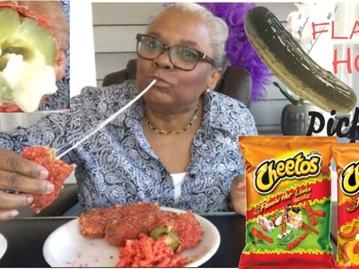 DIY  FLAMIN HOT CHEETO STUFFED DEEP FRIED PICKLES | HOW TO MAKE the ONLY CHEETOS PICKLES  (MUKBANG)