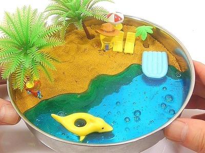 DIY Gold Kinetic Sand Slime Beach Learn Colors Slime Giant Syringe | Baa Baa Black Sheep ABC Song
