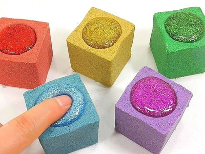 DIY How To Make Colors Kinetic Sand Glitter Slime Learn Colors Slime Clay Bubble Toy - Kids Rhymes