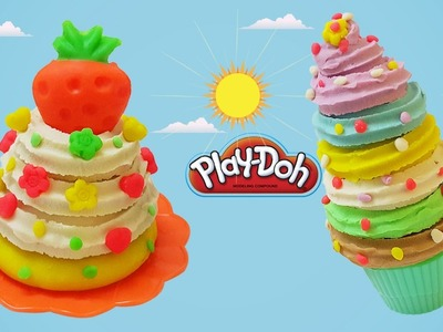 DIY How to Make Play Doh Ice Cream & Cake Modelling Clay Learn Colors Creative For Kids