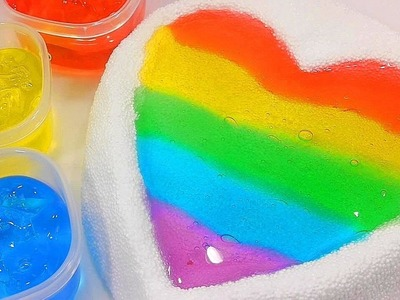 DIY Rainbow Colors Heart Jelly Slime Foam Clay Learn Colors Slime Orbeez | Finger Family ABC Song