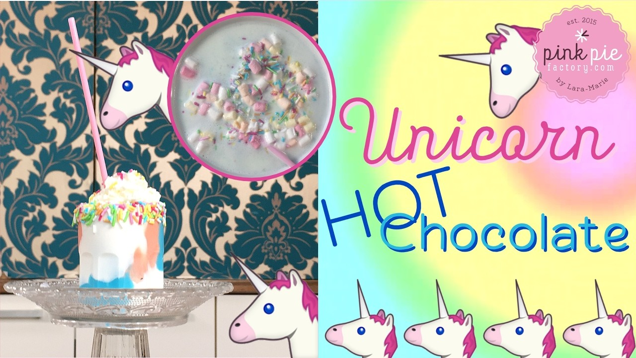 DIY! UNICORN Hot Chocolate | Pink Pie Factory | Lara-Marie | Magic Rainbow Drink | Cute Food Hack