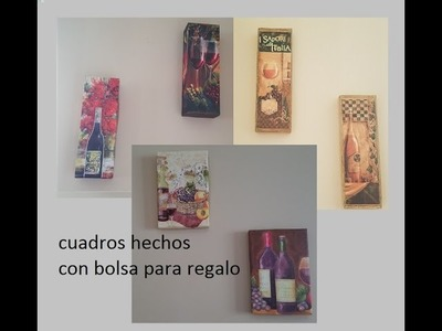 Diy Wall art made with wine themed bottle gift bags.cuadros hechos con bolsas de regalo