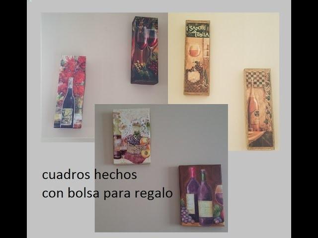 Diy Wall art made with wine themed bottle gift bags.cuadros hechos con bolsas de regalo