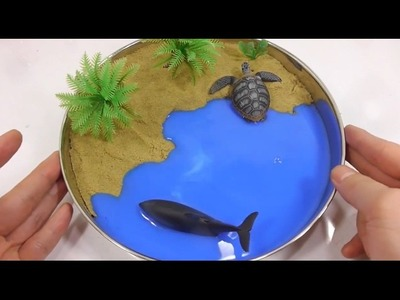 [Do It Yourself] Learn Color - DIY beautiful beach from sand and slime !!!GREAT!!!