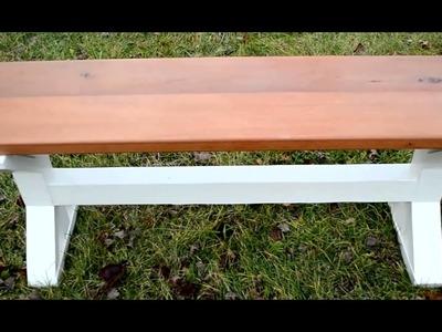How to Build a Mahoganny Farmhouse Pedestal Style Bench. DIY