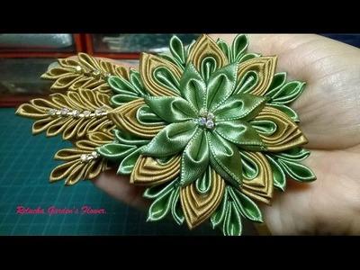 Kanzashi #107 - Flor de Tecido Cetim ! - DIY - Satin Flower.Satin-Blume.サテン花. 簪