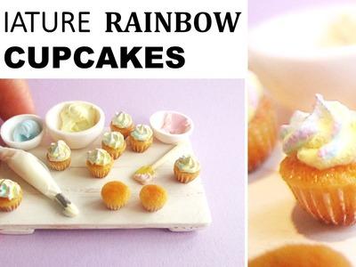 Miniature Polymer Clay Rainbow Cupcakes || Maive Ferrando