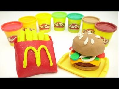 Play Doh Hamburger DIY McDonalds Food How To Make a Hamburger and Learn Colors Video TOYSLINE
