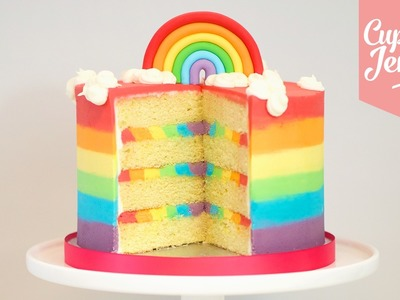 Triple Rainbow Ombré Cake how to! | Cupcake Jemma