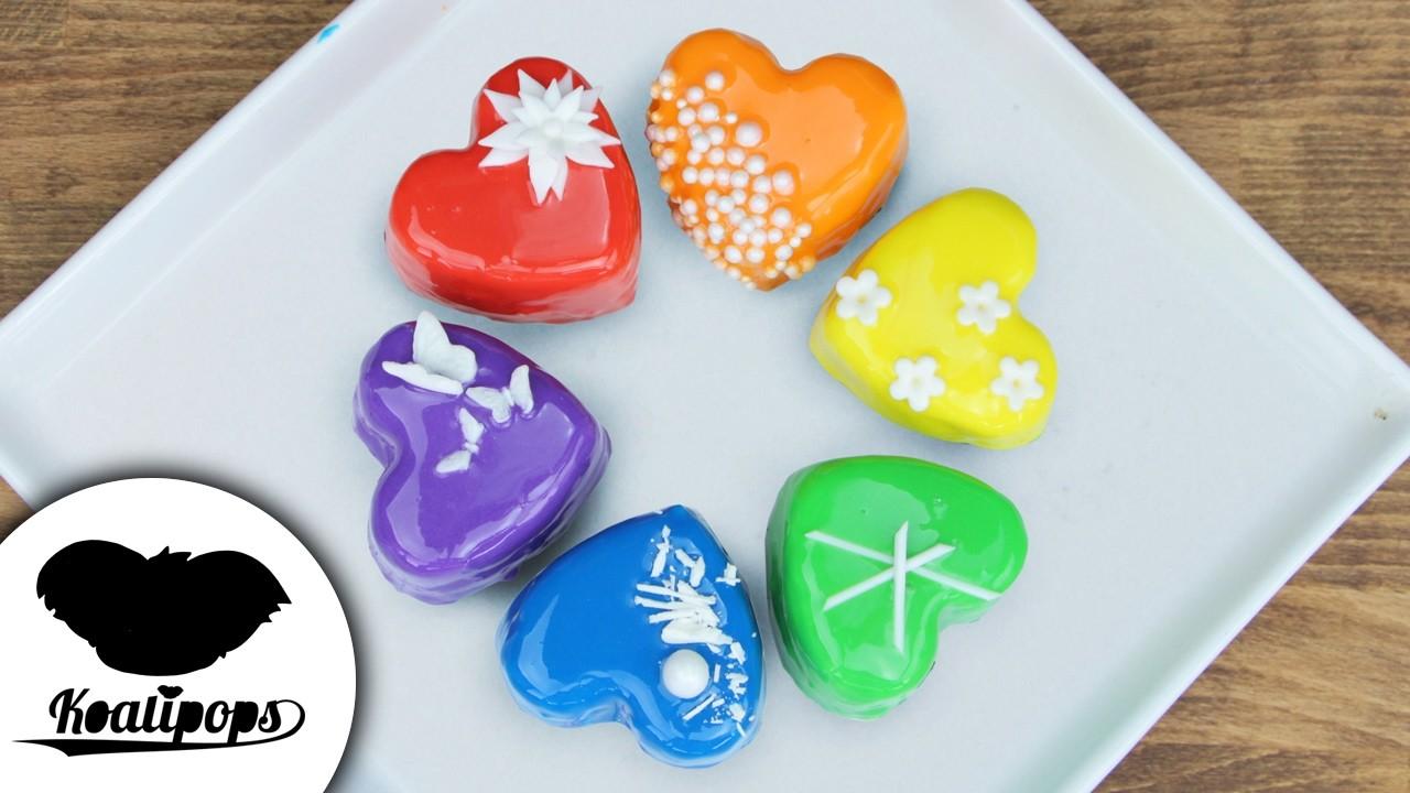 Valentine's Day Rainbow Treats   DIY & How to   Mirror Glaze   Valentine's Day Ideas