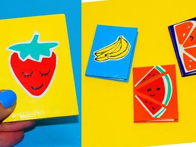 4 DIY Fruit Notebooks - How To Make Fruits Notebooks. Mini notebooks Ideas for school. Julia DIY